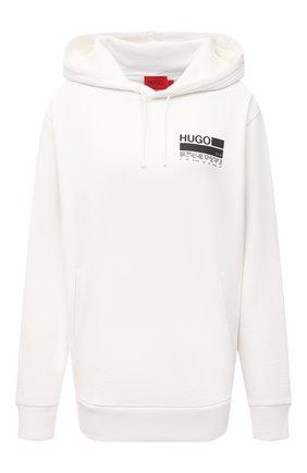 Женский хлопковое худи HUGO белого цвета, арт. 50456044 | Фото 1