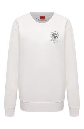 Женский хлопковый свитшот HUGO белого цвета, арт. 50460382 | Фото 1