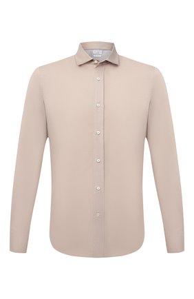 Мужская хлопковая рубашка BRUNELLO CUCINELLI светло-бежевого цвета, арт. MW6043029 | Фото 1 (Материал внешний: Хлопок; Рукава: Длинные; Принт: Однотонные; Воротник: Акула; Случай: Повседневный; Манжеты: На пуговицах; Стили: Кэжуэл; Длина (для топов): Стандартные)