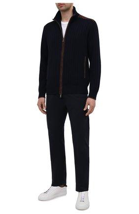 Мужские брюки PAUL&SHARK темно-синего цвета, арт. 11314015/HS1   Фото 2 (Материал внешний: Хлопок; Случай: Повседневный; Стили: Кэжуэл; Длина (брюки, джинсы): Стандартные)