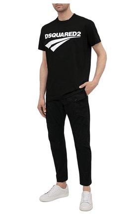 Мужские хлопковые брюки DSQUARED2 черного цвета, арт. S74KB0593/S39021   Фото 2