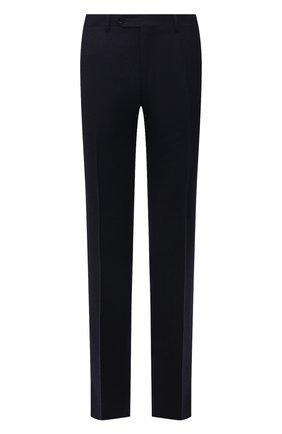 Мужские шерстяные брюки CANALI темно-синего цвета, арт. 71012/AN00019 | Фото 1 (Материал подклада: Вискоза; Материал внешний: Шерсть; Случай: Формальный; Стили: Классический; Длина (брюки, джинсы): Стандартные)