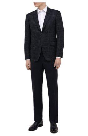 Мужские шерстяные брюки CANALI темно-синего цвета, арт. 71012/AN00019 | Фото 2 (Материал подклада: Вискоза; Материал внешний: Шерсть; Случай: Формальный; Стили: Классический; Длина (брюки, джинсы): Стандартные)