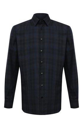 Мужская хлопковая сорочка ZILLI темно-синего цвета, арт. MFW-21011-186/ZS5210 | Фото 1 (Материал внешний: Хлопок; Рукава: Длинные; Принт: Клетка; Воротник: Кент; Случай: Формальный; Стили: Классический; Рубашки М: Regular Fit; Манжеты: На пуговицах; Длина (для топов): Стандартные)