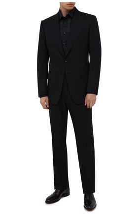 Мужская хлопковая сорочка ZILLI темно-синего цвета, арт. MFW-21011-186/ZS5210 | Фото 2 (Материал внешний: Хлопок; Рукава: Длинные; Принт: Клетка; Воротник: Кент; Случай: Формальный; Стили: Классический; Рубашки М: Regular Fit; Манжеты: На пуговицах; Длина (для топов): Стандартные)