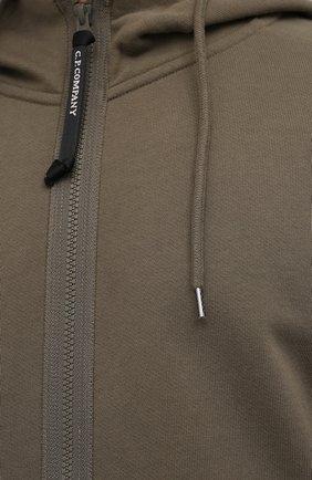 Мужской хлопковая толстовка C.P. COMPANY хаки цвета, арт. 11CMSS060A-005086W | Фото 5 (Рукава: Длинные; Мужское Кросс-КТ: Толстовка-одежда; Длина (для топов): Стандартные; Стили: Милитари; Материал внешний: Хлопок)