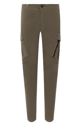 Мужские хлопковые брюки-карго C.P. COMPANY хаки цвета, арт. 11CMPA226A-005529G | Фото 1 (Длина (брюки, джинсы): Стандартные; Материал внешний: Хлопок; Силуэт М (брюки): Карго; Случай: Повседневный; Стили: Милитари)