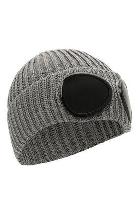 Мужская шерстяная шапка C.P. COMPANY серого цвета, арт. 11CMAC122A-005509A | Фото 1 (Материал: Шерсть; Кросс-КТ: Трикотаж)