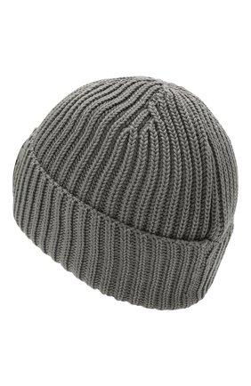 Мужская шерстяная шапка C.P. COMPANY серого цвета, арт. 11CMAC122A-005509A | Фото 2 (Материал: Шерсть; Кросс-КТ: Трикотаж)