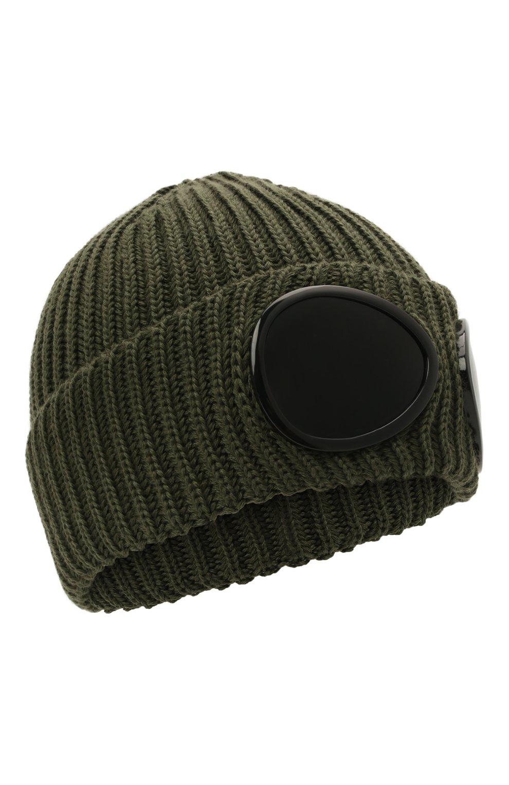 Мужская шерстяная шапка C.P. COMPANY хаки цвета, арт. 11CMAC122A-005509A   Фото 1 (Материал: Шерсть; Кросс-КТ: Трикотаж)
