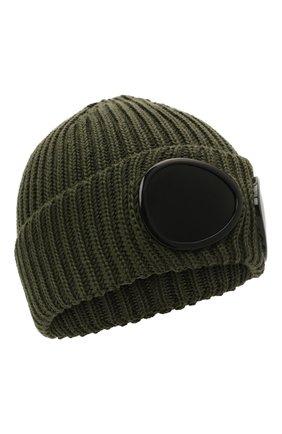Мужская шерстяная шапка C.P. COMPANY хаки цвета, арт. 11CMAC122A-005509A | Фото 1
