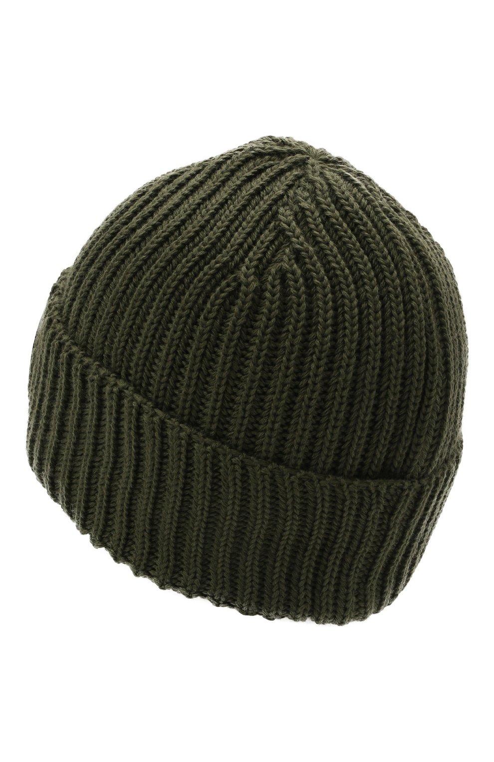 Мужская шерстяная шапка C.P. COMPANY хаки цвета, арт. 11CMAC122A-005509A   Фото 2 (Материал: Шерсть; Кросс-КТ: Трикотаж)