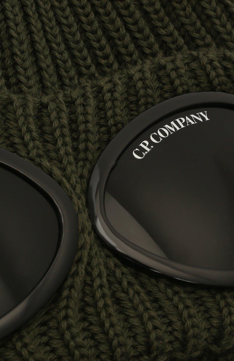 Мужская шерстяная шапка C.P. COMPANY хаки цвета, арт. 11CMAC122A-005509A   Фото 3 (Материал: Шерсть; Кросс-КТ: Трикотаж)