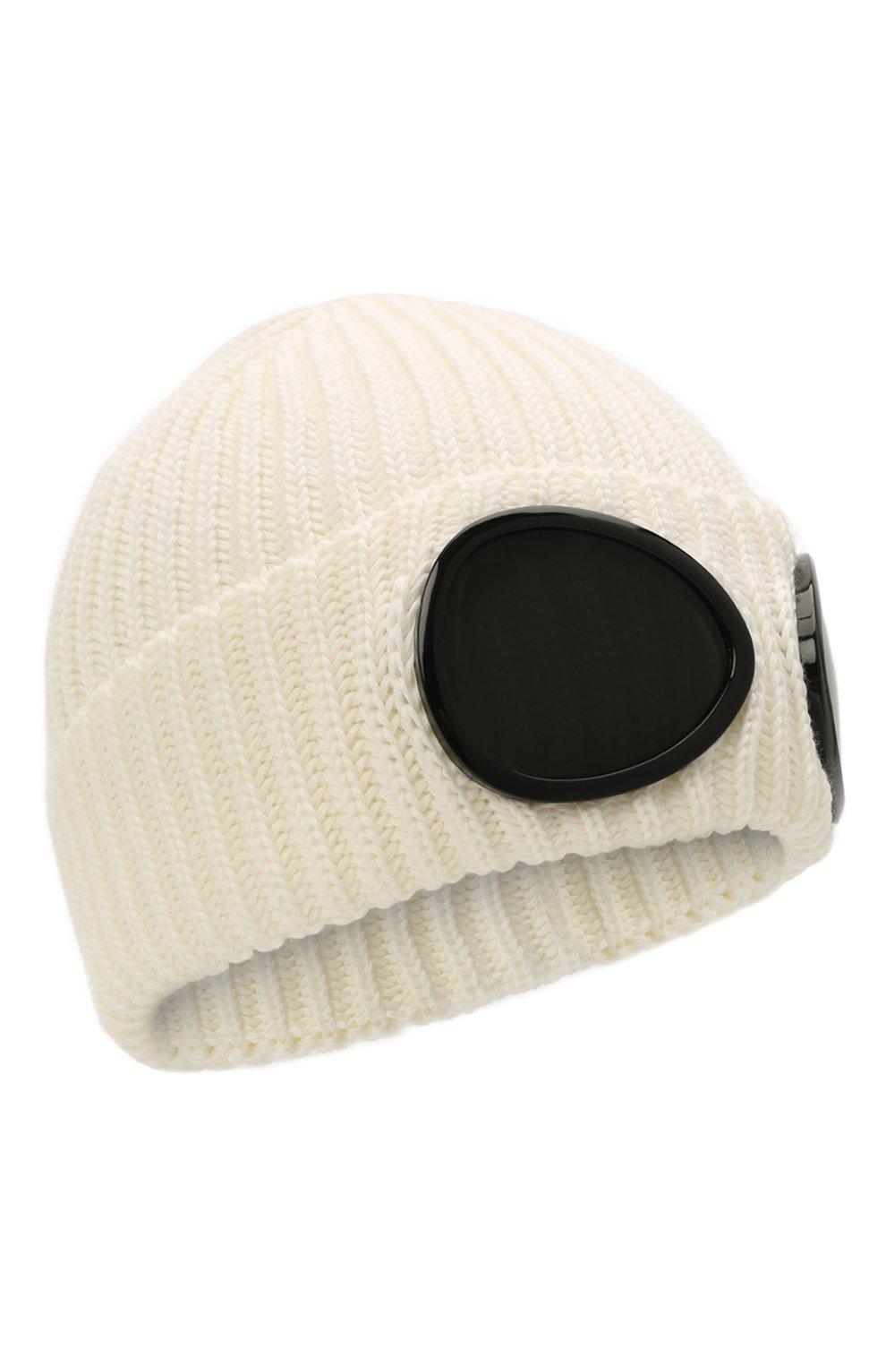 Мужская шерстяная шапка C.P. COMPANY белого цвета, арт. 11CMAC122A-005509A   Фото 1 (Материал: Шерсть; Кросс-КТ: Трикотаж)