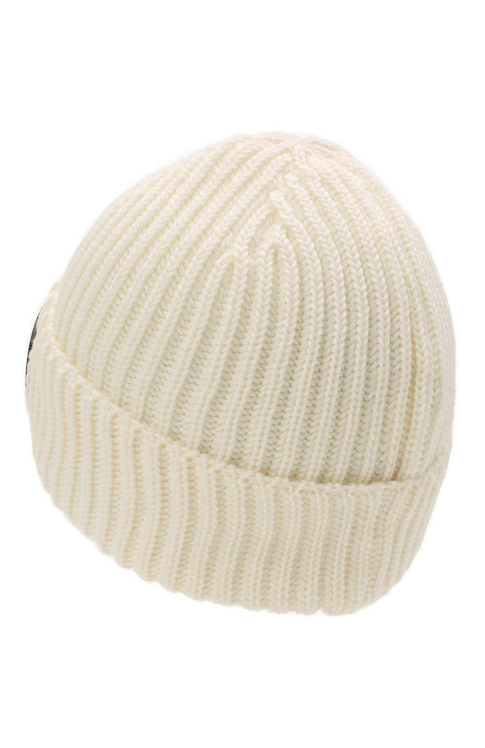 Мужская шерстяная шапка C.P. COMPANY белого цвета, арт. 11CMAC122A-005509A   Фото 2 (Материал: Шерсть; Кросс-КТ: Трикотаж)