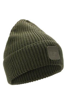 Мужская шерстяная шапка C.P. COMPANY хаки цвета, арт. 11CMAC121A-005509A | Фото 1 (Материал: Шерсть; Кросс-КТ: Трикотаж)