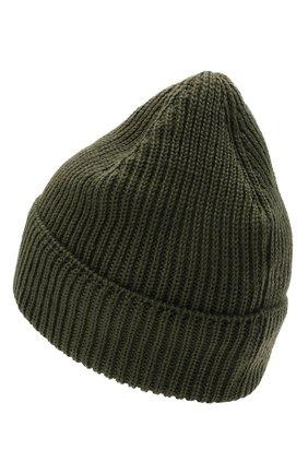 Мужская шерстяная шапка C.P. COMPANY хаки цвета, арт. 11CMAC121A-005509A | Фото 2 (Материал: Шерсть; Кросс-КТ: Трикотаж)