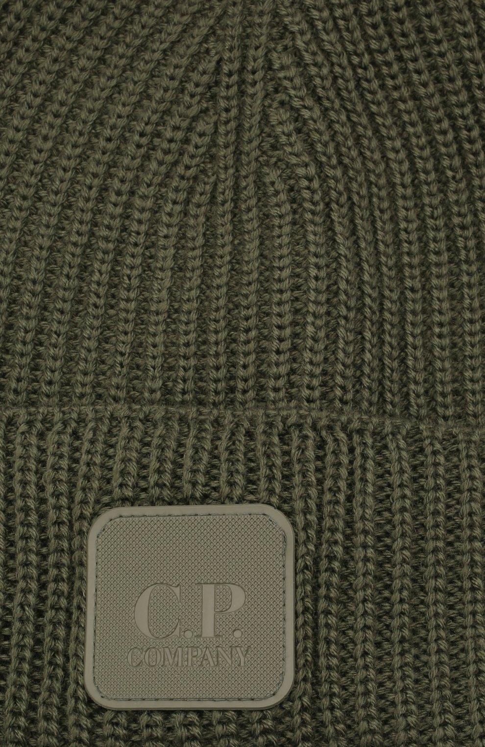 Мужская шерстяная шапка C.P. COMPANY хаки цвета, арт. 11CMAC121A-005509A | Фото 3 (Материал: Шерсть; Кросс-КТ: Трикотаж)