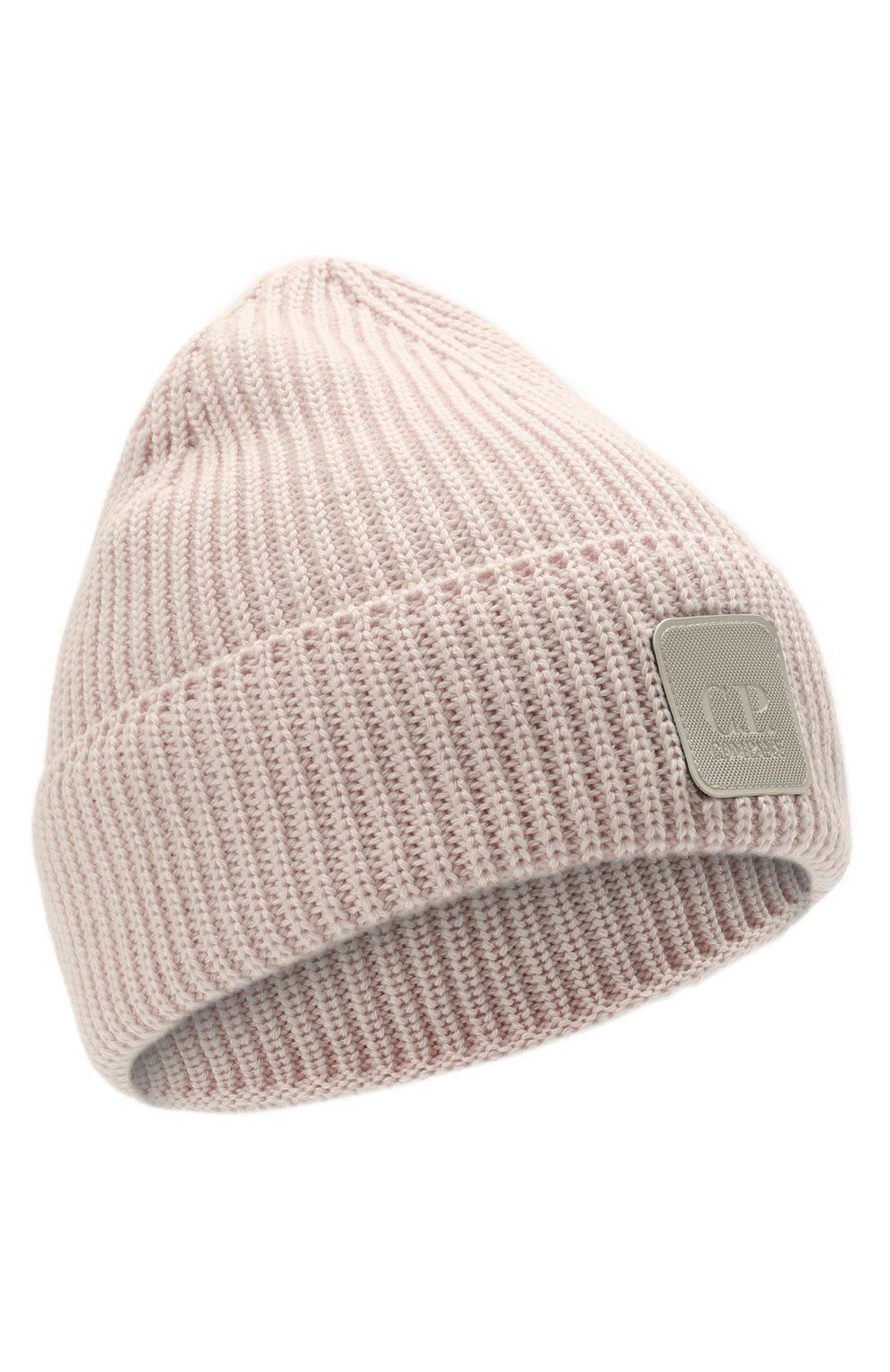 Мужская шерстяная шапка C.P. COMPANY светло-розового цвета, арт. 11CMAC121A-005509A | Фото 1 (Материал: Шерсть; Кросс-КТ: Трикотаж)