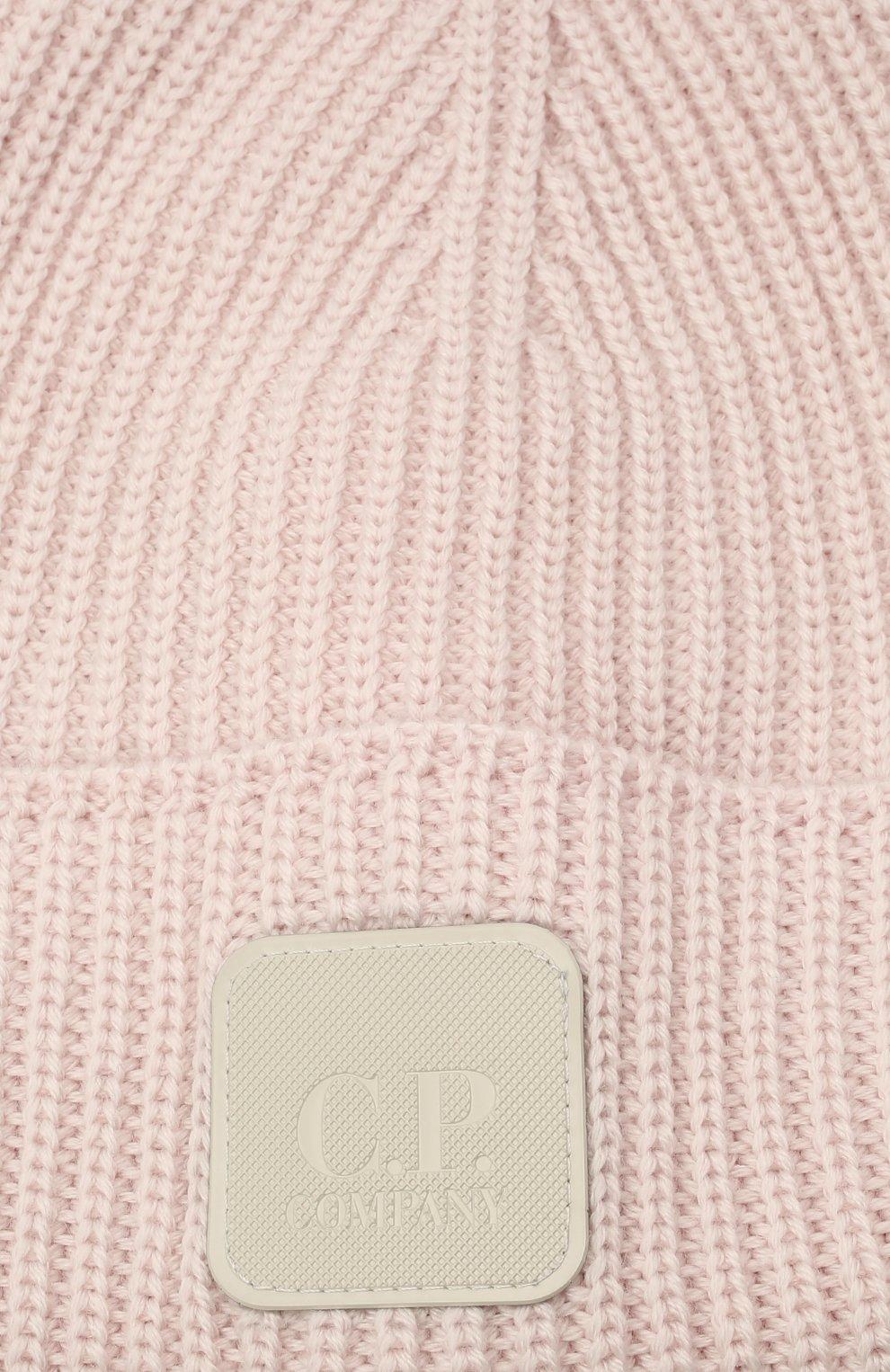 Мужская шерстяная шапка C.P. COMPANY светло-розового цвета, арт. 11CMAC121A-005509A | Фото 3 (Материал: Шерсть; Кросс-КТ: Трикотаж)