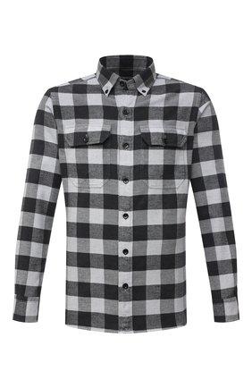 Мужская хлопковая рубашка TOM FORD серого цвета, арт. 2FT371/94UDAN | Фото 1 (Рукава: Длинные; Материал внешний: Хлопок; Длина (для топов): Стандартные; Принт: Клетка; Воротник: Button down; Случай: Повседневный; Рубашки М: Slim Fit; Манжеты: На пуговицах; Стили: Кэжуэл)