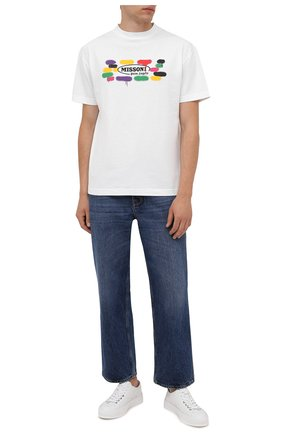 Мужская хлопковая футболка palm angels x missoni PALM ANGELS белого цвета, арт. PMAA001F21JER0280110 | Фото 2 (Рукава: Короткие; Длина (для топов): Стандартные; Материал внешний: Хлопок; Принт: С принтом; Стили: Спорт-шик)