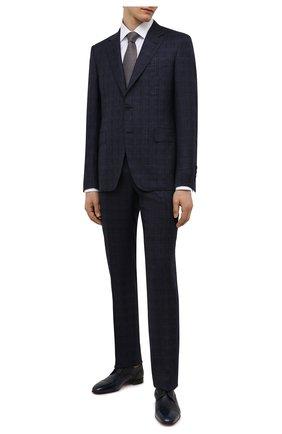 Мужской шерстяной костюм CANALI темно-синего цвета, арт. 11280/10/BF00281   Фото 1 (Материал подклада: Купро; Материал внешний: Шерсть; Рукава: Длинные; Костюмы М: Однобортный; Стили: Классический)