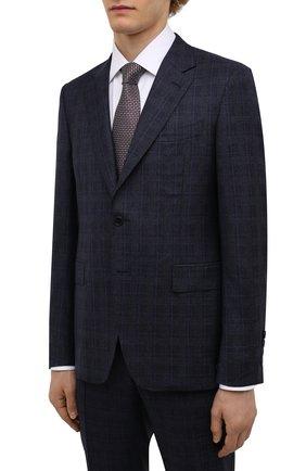 Мужской шерстяной костюм CANALI темно-синего цвета, арт. 11280/10/BF00281   Фото 2 (Материал подклада: Купро; Материал внешний: Шерсть; Рукава: Длинные; Костюмы М: Однобортный; Стили: Классический)