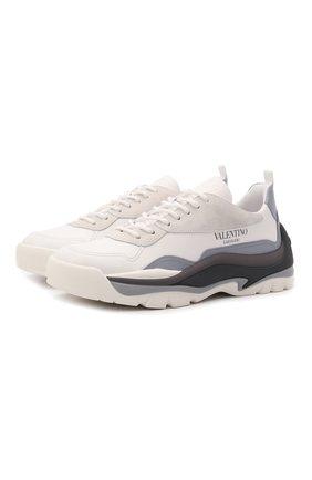 Мужские кожаные кроссовки gumboy VALENTINO серого цвета, арт. WY2S0B17/MQB | Фото 1