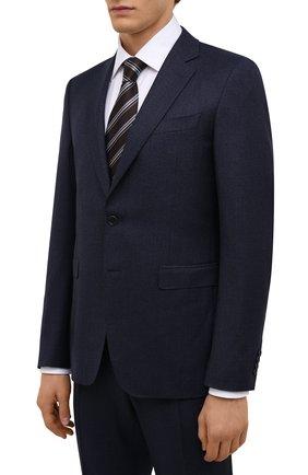 Мужской шерстяной костюм CANALI темно-синего цвета, арт. 19220/93/AA02161   Фото 2 (Материал внешний: Шерсть; Материал подклада: Купро; Костюмы М: Однобортный; Стили: Классический; Рукава: Длинные)