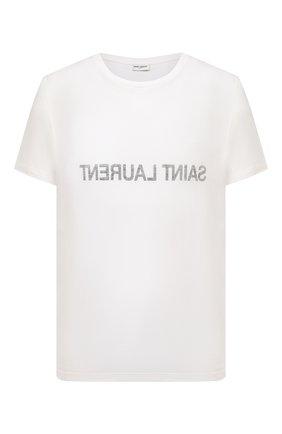 Мужская хлопковая футболка SAINT LAURENT белого цвета, арт. 663278/Y36HE | Фото 1 (Рукава: Короткие; Материал внешний: Хлопок; Длина (для топов): Стандартные; Принт: С принтом; Стили: Кэжуэл)