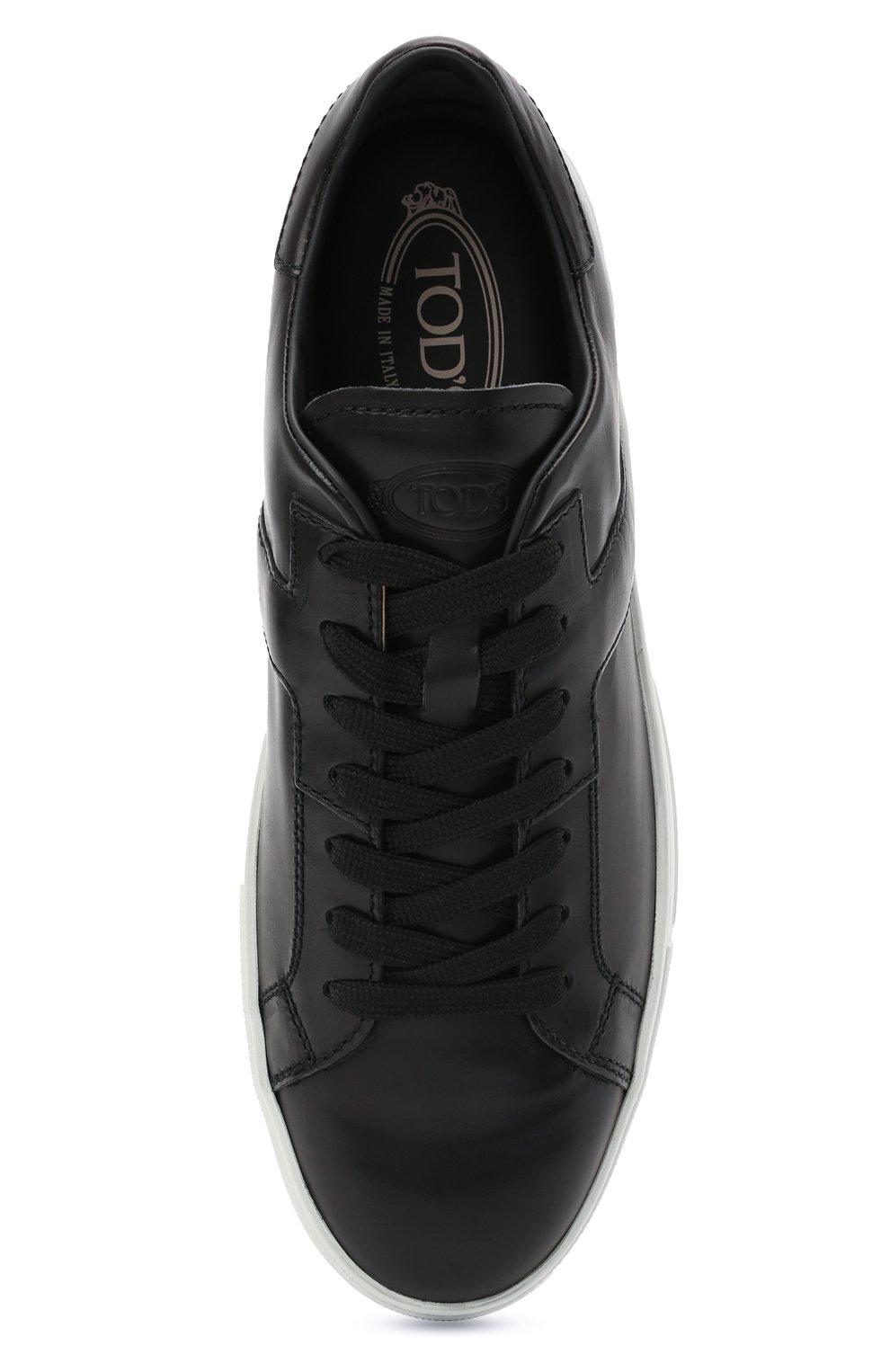 Мужские кожаные кеды TOD'S черного цвета, арт. XXM0XY0DR20NF5 | Фото 5 (Материал внутренний: Натуральная кожа; Подошва: Плоская)