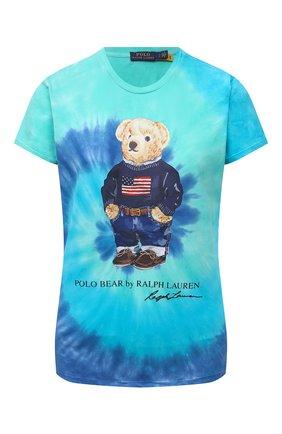 Женская хлопковая футболка POLO RALPH LAUREN бирюзового цвета, арт. 211843249 | Фото 1