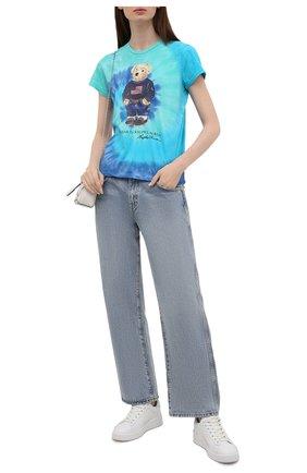 Женская хлопковая футболка POLO RALPH LAUREN бирюзового цвета, арт. 211843249 | Фото 2