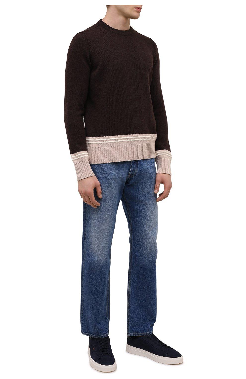 Мужские кожаные кеды SANTONI темно-синего цвета, арт. MBGT21553PNNRBUIU66   Фото 2 (Материал внутренний: Натуральная кожа; Подошва: Массивная)