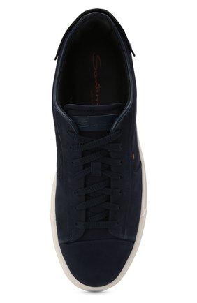 Мужские кожаные кеды SANTONI темно-синего цвета, арт. MBGT21553PNNRBUIU66   Фото 5 (Материал внутренний: Натуральная кожа; Подошва: Массивная)