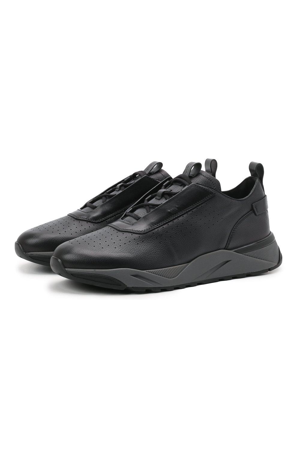 Мужские кожаные кроссовки SANTONI темно-серого цвета, арт. MBIM21611ANETDYEN50   Фото 1 (Материал внутренний: Натуральная кожа; Стили: Классический; Подошва: Массивная)