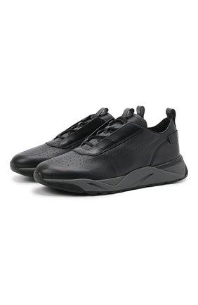 Мужские кожаные кроссовки SANTONI темно-серого цвета, арт. MBIM21611ANETDYEN50 | Фото 1