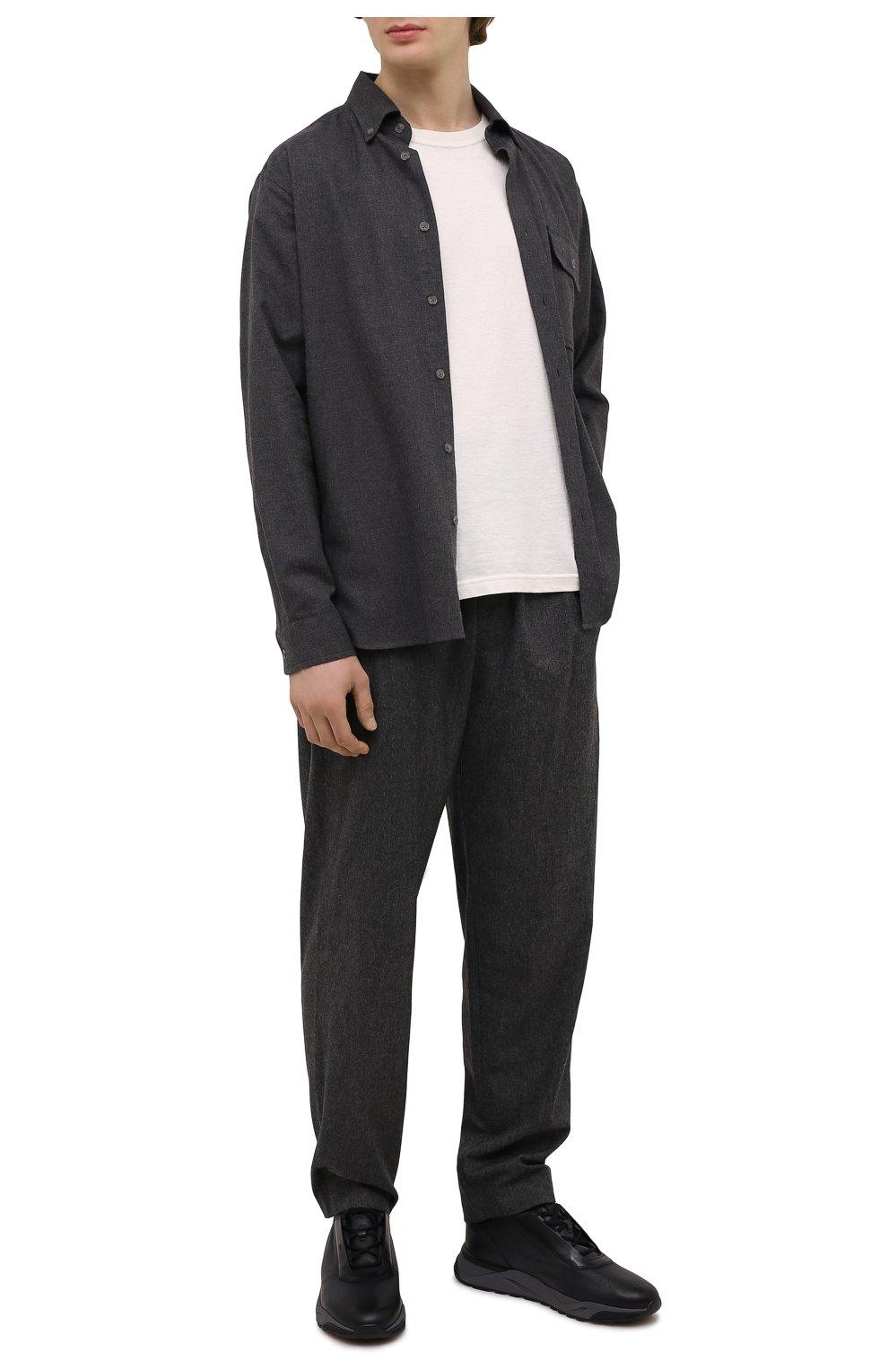 Мужские кожаные кроссовки SANTONI темно-серого цвета, арт. MBIM21611ANETDYEN50   Фото 2 (Материал внутренний: Натуральная кожа; Стили: Классический; Подошва: Массивная)