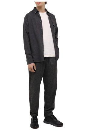 Мужские кожаные кроссовки SANTONI темно-серого цвета, арт. MBIM21611ANETDYEN50 | Фото 2