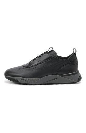 Мужские кожаные кроссовки SANTONI темно-серого цвета, арт. MBIM21611ANETDYEN50   Фото 3 (Материал внутренний: Натуральная кожа; Стили: Классический; Подошва: Массивная)