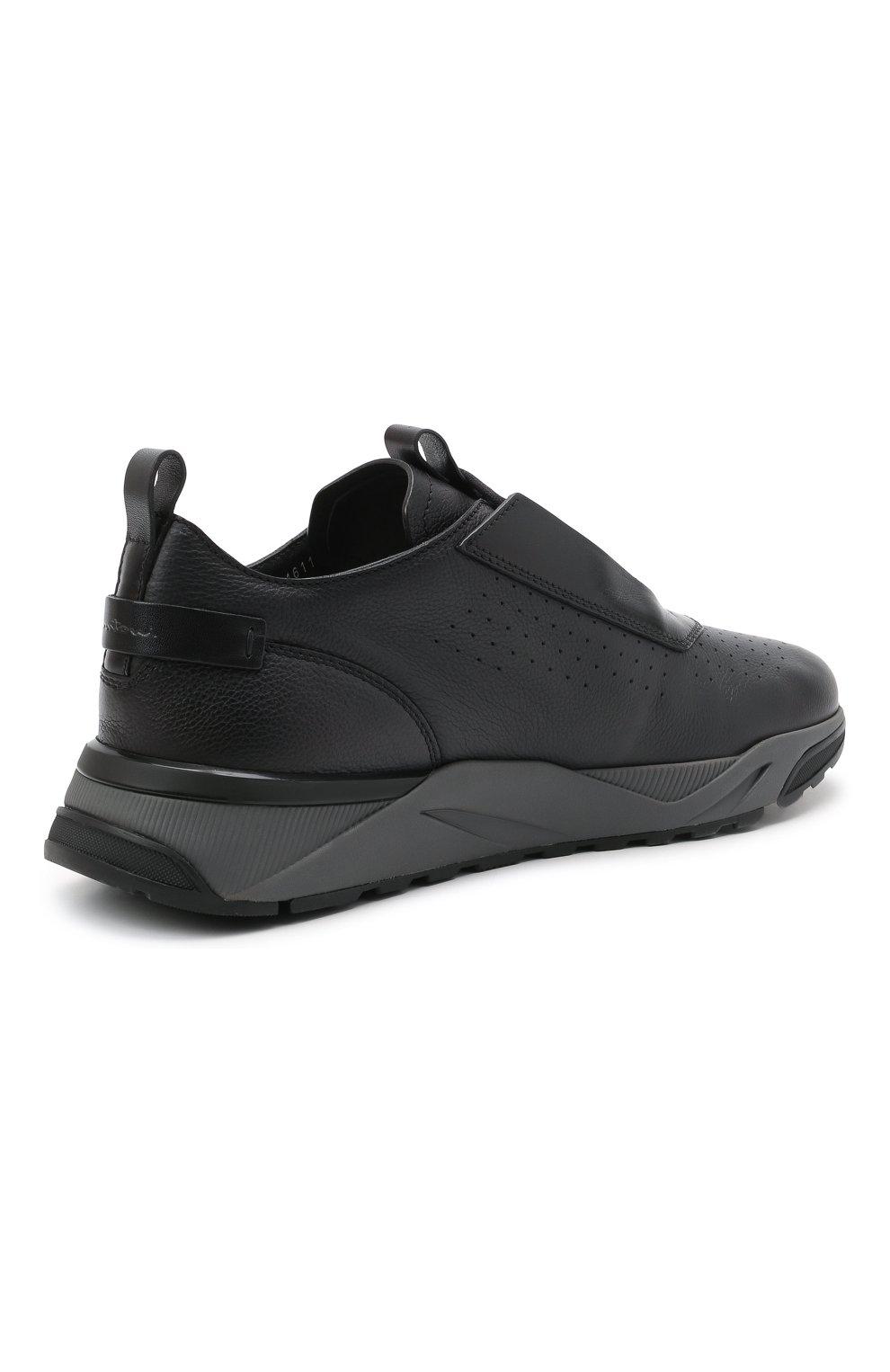 Мужские кожаные кроссовки SANTONI темно-серого цвета, арт. MBIM21611ANETDYEN50   Фото 4 (Материал внутренний: Натуральная кожа; Стили: Классический; Подошва: Массивная)