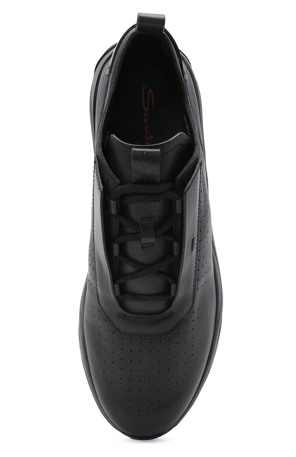 Мужские кожаные кроссовки SANTONI темно-серого цвета, арт. MBIM21611ANETDYEN50   Фото 5 (Материал внутренний: Натуральная кожа; Стили: Классический; Подошва: Массивная)