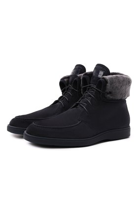 Мужские замшевые ботинки SANTONI темно-синего цвета, арт. MGDG1789100TASVUU60 | Фото 1