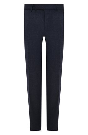 Мужские шерстяные брюки ERMENEGILDO ZEGNA темно-синего цвета, арт. 244F01/75TB12 | Фото 1 (Материал внешний: Шерсть; Материал подклада: Вискоза; Длина (брюки, джинсы): Стандартные; Случай: Формальный; Стили: Классический)
