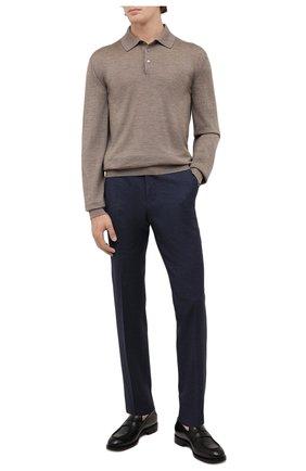 Мужские шерстяные брюки ERMENEGILDO ZEGNA темно-синего цвета, арт. 244F01/75TB12 | Фото 2 (Материал внешний: Шерсть; Материал подклада: Вискоза; Длина (брюки, джинсы): Стандартные; Случай: Формальный; Стили: Классический)