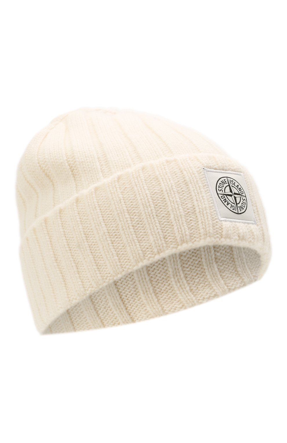 Мужская шерстяная шапка STONE ISLAND белого цвета, арт. 7515N24B5   Фото 1 (Материал: Шерсть; Кросс-КТ: Трикотаж)