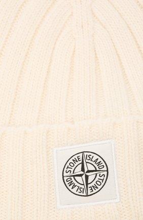 Мужская шерстяная шапка STONE ISLAND белого цвета, арт. 7515N24B5   Фото 3 (Материал: Шерсть; Кросс-КТ: Трикотаж)