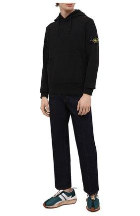 Мужской хлопковое худи STONE ISLAND черного цвета, арт. 751564120 | Фото 2