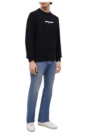 Мужской хлопковый свитшот STONE ISLAND темно-синего цвета, арт. 751563085 | Фото 2